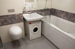 Установка узкой стиральной машины под раковиной Сергиев Посад